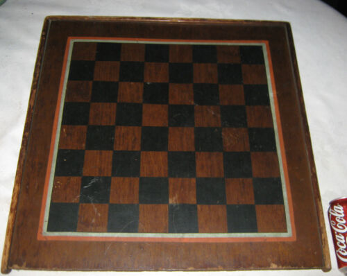 ANTIQUE PRIMITIVE FOLK ART COUNTRY HOME WOOD CHESS CHECKER GAME BOARD PAINTING