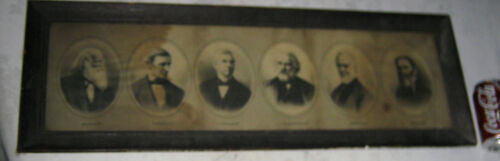 ANTIQUE AMERICAN FOLK ART POET MISSION OAK URN PHOTO PICTURE PAINTING WALL FRAME