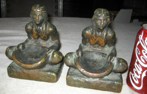 ANTIQUE NATIVE AMERICAN INDIAN BRONZE CLAD ART STATUE SCULPTURE WEST BOOKENDS