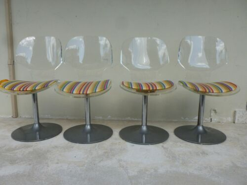 4 SPACE AGE MOD 70'S LUCITE SWIVEL CHAIRS WITH ALUMINUM BASES