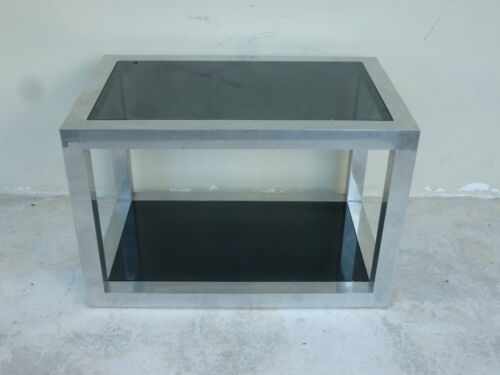 HIGH QUALITY 70'S PACE STYLE ALUMINUM RECTANGULAR TABLE W BLACK GLASS INSERTS