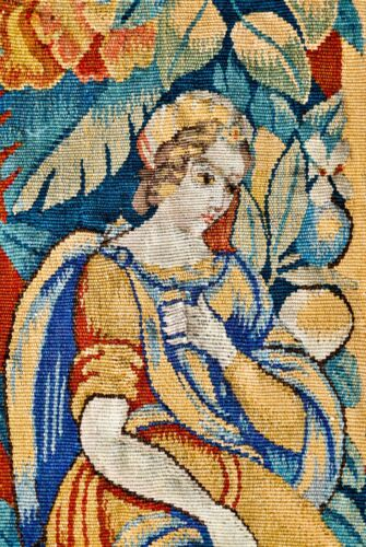 ANTIQUE FRENCH OR FLEMISH 18th or 19th CENTURY 'FEUILLES-DE-CHOUX' TAPESTRY