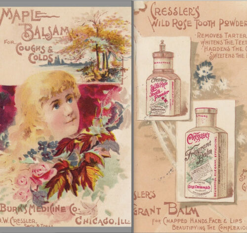 Tooth Powder Dentist Balm Maple Cold Cure Cresslers Remedy Chicago bottle Card
