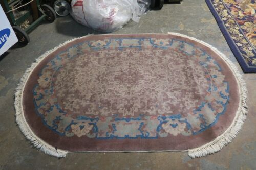 Antique Fette Art Deco Chinese Rug 4' x 6' Oval Hand Knotted Wool Brown