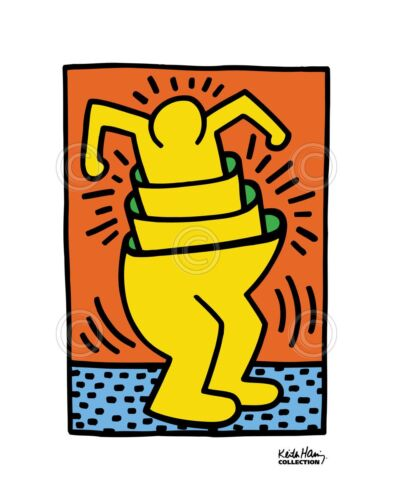 KH06 by Keith Haring Art Print Yellow Man Dancing Dance Pop Poster 11x14