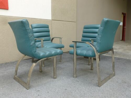 4 1970'S FASHIONABLY STYLISH JAY SPECTRE DINING ROOM CHAIRS, 2 ARMS, 2 SIDES