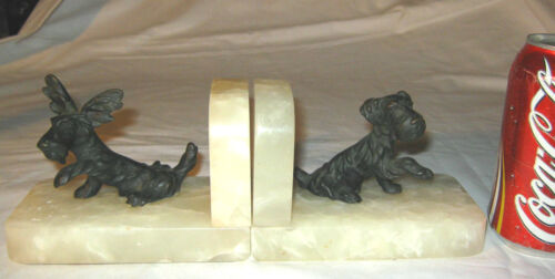 ANTIQUE AUSTRIAN BRONZE TERRIER DOG ART STATUE SCULPTURE BOOKENDS MARBLE BASE