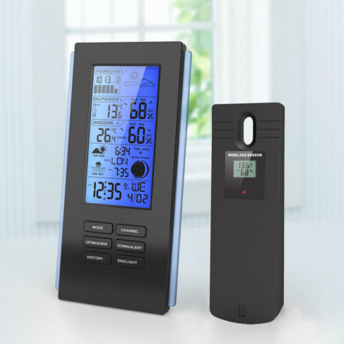 Blue LED Wireless Weather Station & Sensor Temperature Humidity Barometer RCC