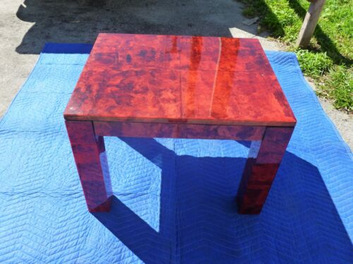 STYLISH 70'S ITALIAN BLOOD RED LACQUERED PARCHMENT SIDE / SOFA TABLE