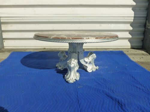 ITALIAN HOLLYWOOD REGENCY SILVER LEAF COFFEE TABLE W ANGEL HEADS & MARBLE TOP