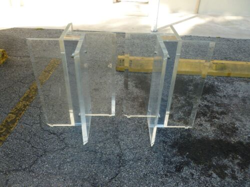 TWO IMPOSING LARGE 70'S LUCITE PIN WHEEL TABLE BASES W MIRRORED INTERIORS P