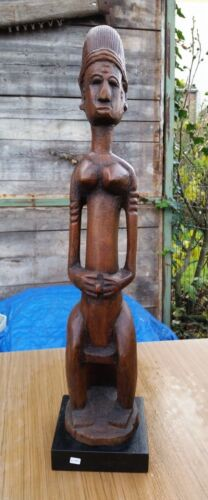 BAMBARA ANTIQUE CARVED WOODEN FIGURE  STATUE- MALI 31 INCHES AFRICA TRIBAL ART