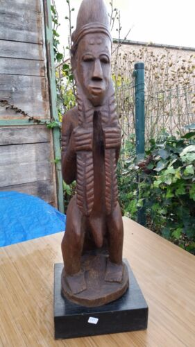 DOGON ANTIQUE CARVED WOODEN FIGURE  STATUE- 26 4/5 INCHES TRIBAL ART AFRICA