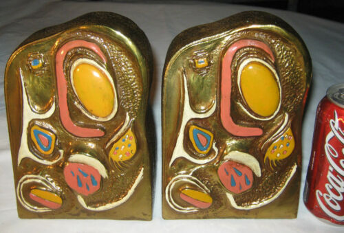 US FUNKY ABSTRACT MODERN MID CENTURY RETRO DISCO BRONZE CLAD ART STATUE BOOKENDS