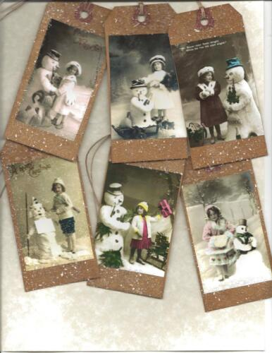 12 PRIMITIVE TAGS~Snowman and Girls! ~HANG TAGS~folk~Grungy