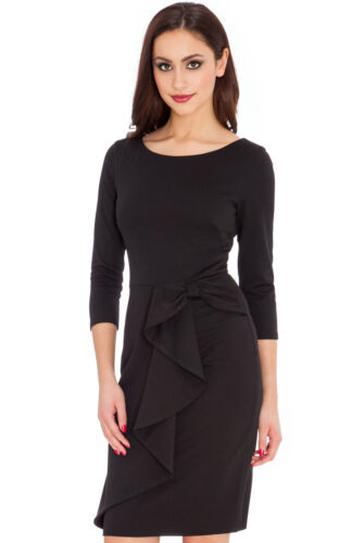 CATWALK Celeb Little Black Waterfall Midi  Stretch Cocktail Dress Rocks Boutique <br/> QUALITY GARMENT - MADE IN BRITAIN - SIZES UK 8 - 16