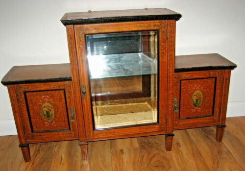 Antique English Edwardian Toile decorative painted wood glass display cabinet