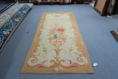 """Antique French Aubusson Tapestry Panel 40"""" x 98"""" Early 1900's Handmade Wool"""
