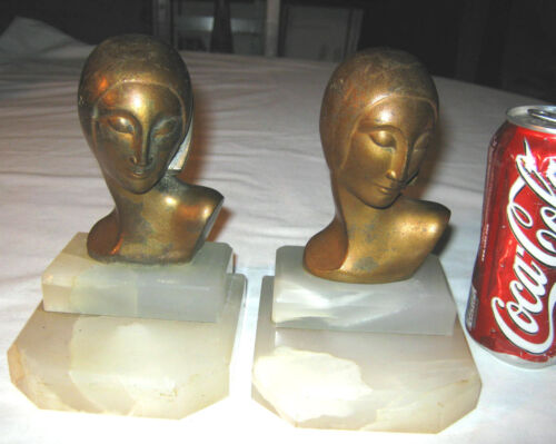 2 ANTIQUE ART DECO FRANKART PERIOD STYLE LADY NUDE BUST STATUE MARBLE BOOKENDS