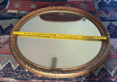 LARGE Ornate Gold Frame White Seid BALTIMORE Oval Mirror Gilded Age Art Nouveau