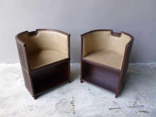 PAIR OF MAITLAND SMITH LIBRARY BARREL CHAIRS WITH BOOK SPINE COVERINGS