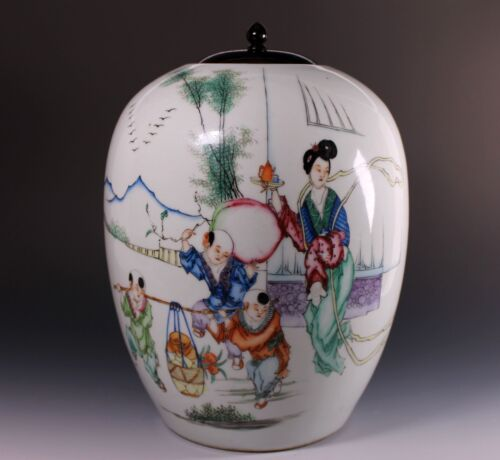 "19th Century Chinese Porcelain Ginger ""Famille Rose"" Jar with Calligraphy - A"