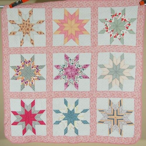 WELL QUILTED 30's Pieced Stars Patchwork Antique Quilt ~NICE VINTAGE FABRICS!