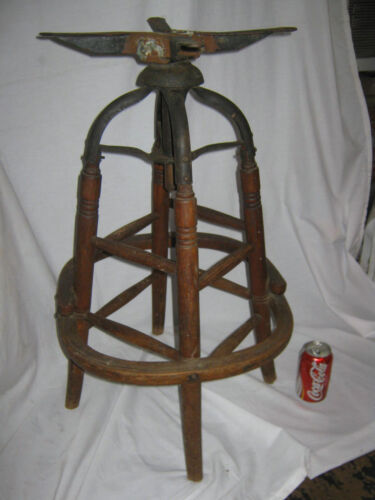 ANTIQUE PRIMITIVE INDUSTRIAL USA WOOD CAST IRON DRAFTING STAND STOOL TABLE CHAIR