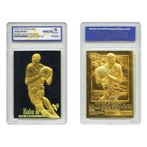**RARE** Graded Gem-Mint 10 KOBE BRYANT 1996 Skybox 23K Black Gold ROOKIE Card Basketball Cards - 214