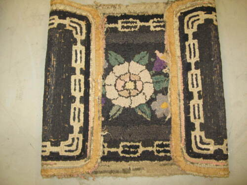 Primitive Antique American Hand Made Hooked Rug Wool on Burlap - 2' x 3'-6