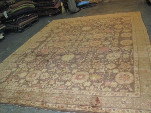 Semi Antique English Irish Donegal Hand Knotted Wool Rug 9'-2 x 12'-2   Brown