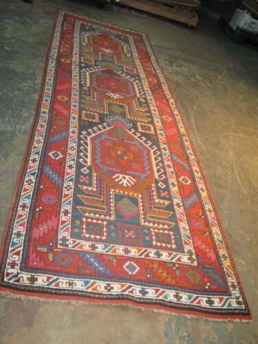 Antique Caucasian  Kazak Rug 3'6 x 12'3 Hand Knotted Wool on Wool