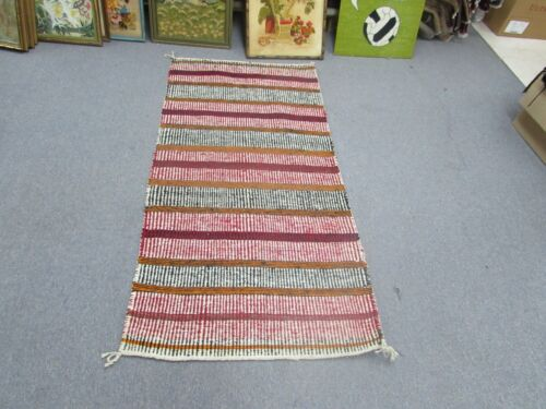 "Vintage Wool Kilim Rug Weaving Southwest American 29""x59"" Edward Green Colorado"