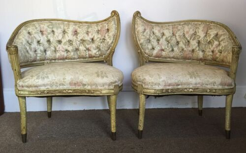 Antique Rare Maison Jansen Tree Leaf Style Chairs Pair Vtg French Provincial