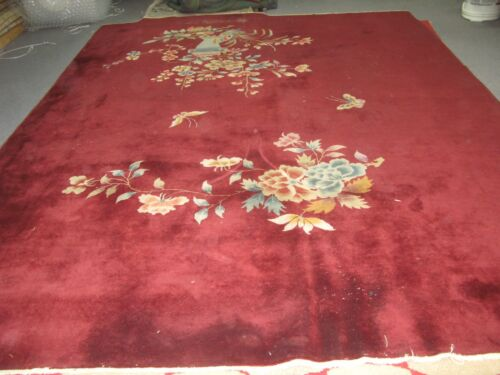 """Antique Art Deco Chinese Rug  Vase Design Red Hand Knotted Wool 8'-9"""" x 11'-9"""""""