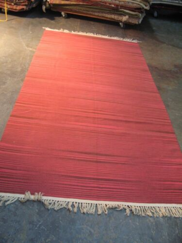 Vintage Fine Russian Hand Woven Wool Kilim Rug Stripes 4'-3 x 8' Excellent Neat
