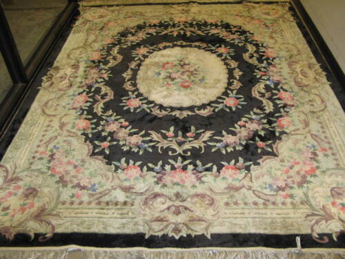 Vintage Chinese Aubusson Rug Hand Knotted Silk 8' x 10'
