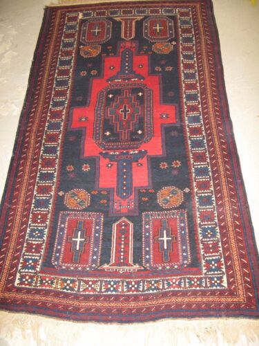 Antique Shirvan Russian Hand Knotted Wool Rug 3'-6 x 6'-4 wool + wool foundation