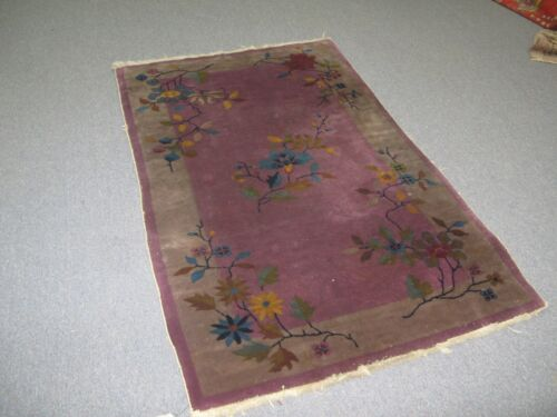 Antique Art Deco Chinese Rug 2'-10 x 4'-8 Hand Knotted Wool Purple