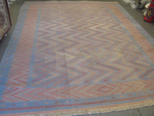 Vintage European Hand Woven Cotton Kilim Rug Dhurry Carpet 10' x 13'