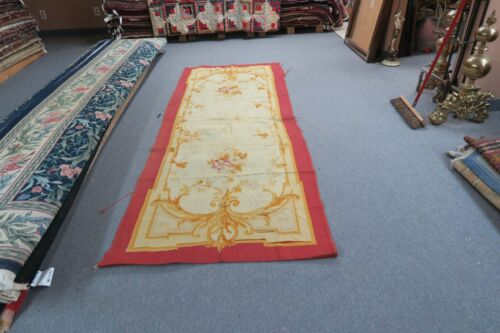 """Antique French Aubusson Tapestry Panel 42"""" x 100"""" Early 1900's Handmade Wool"""