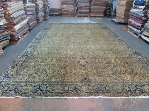 Antique Fine Persian Tabriz Rug 10'4 x 17'-0 Hand Knotted Wool Allover Ivory