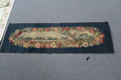 """Antique French Aubusson Tapestry 19"""" x 60""""  Handmade Silk & Wool Floral Cranes"""