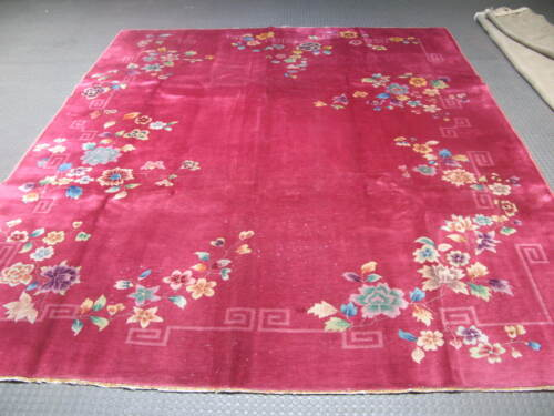 Vintage Art Deco Chinese Rug  9'-0 x 11'-7 Hand Knotted Wool 1960's