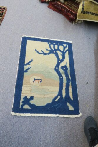 """ANTIQUE ART DECO CHINESE ORIENTAL RUG 24"""" X 35""""  HAND KNOTTED WOOL SCENE"""