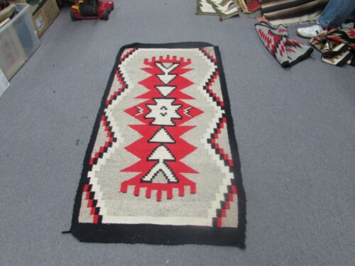 "Vintage Mexican Latin American Weaving Wool Kilim Rug Size 31"" x 57"""