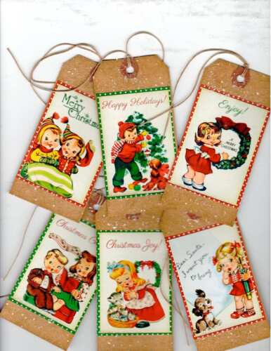 ~12~CHRISTMAS TAGS~ Prim Angels ~PRIMITIVE GRUNGY TAGS~Set 2