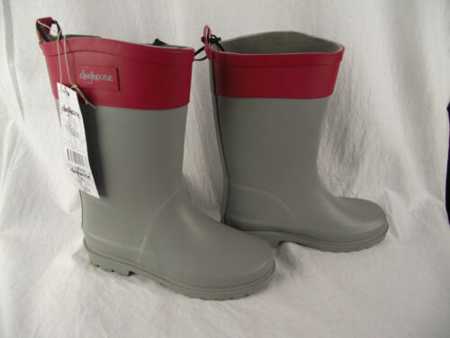 BNWT Older Girls Sz 2 Quality Rivers Doghouse Brand Smart Grey and Red Gumboots
