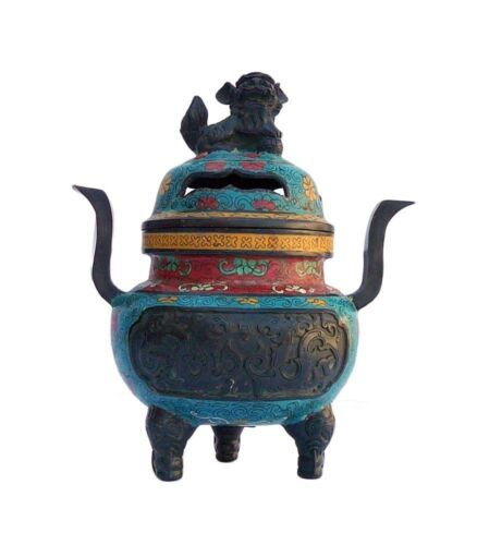 Chinese Bronze Turquoise Cloisonne Tri legs Ding Incense Burner cs646 SF2