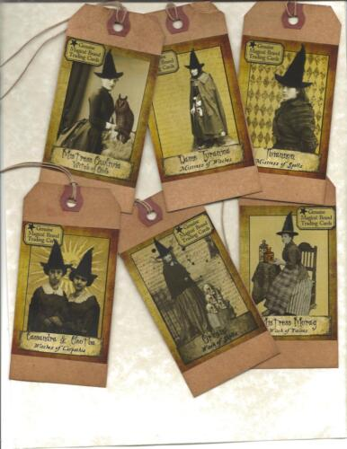 12 PRIMITIVE TAGS~ Magical Witches ~HANG TAGS~folk~Grungy